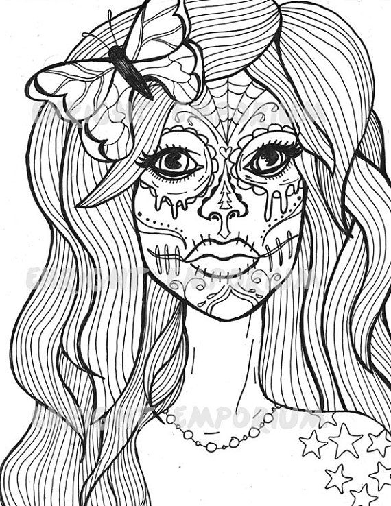Sugar Skull Girl Coloring Page Download Day Of by enrightemporium