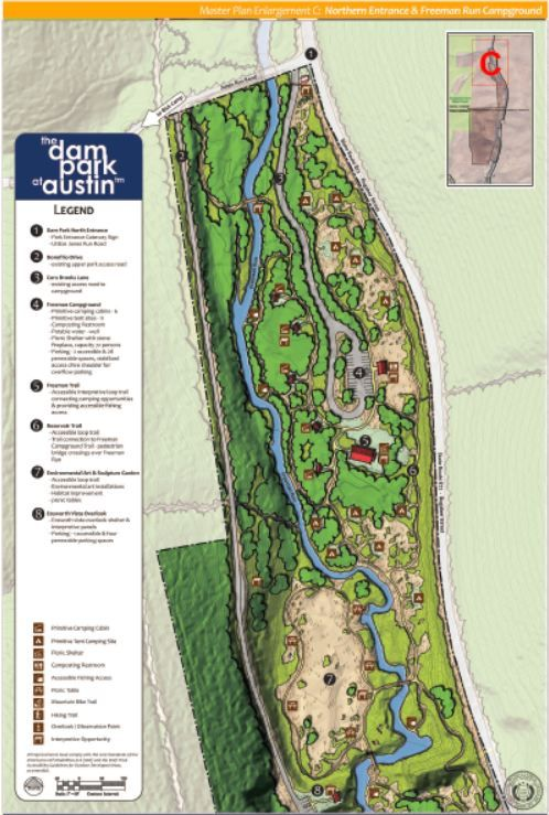 Map enlargement of the Master Site Plan for the northern end of the Dam Park at Austin!