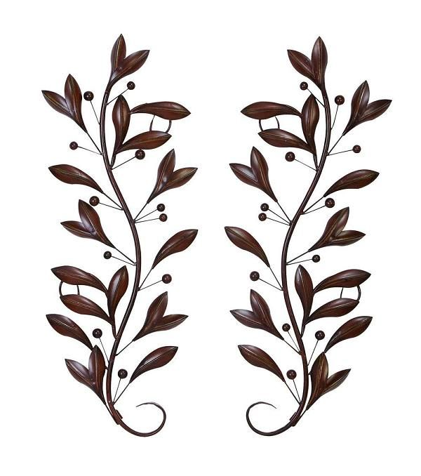 Bon Brushed 3D Relief Metal Wall Art Scroll   Leaves With Buds Vines