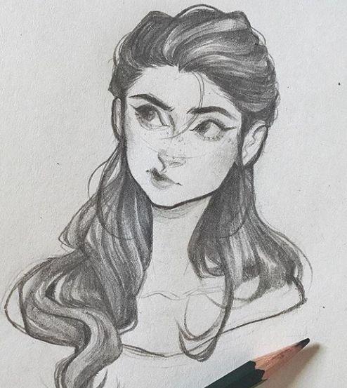 Pencil Drawing Of Cartoon Semi Realistic Girl Realistic Drawings Portrait Drawing Drawing People