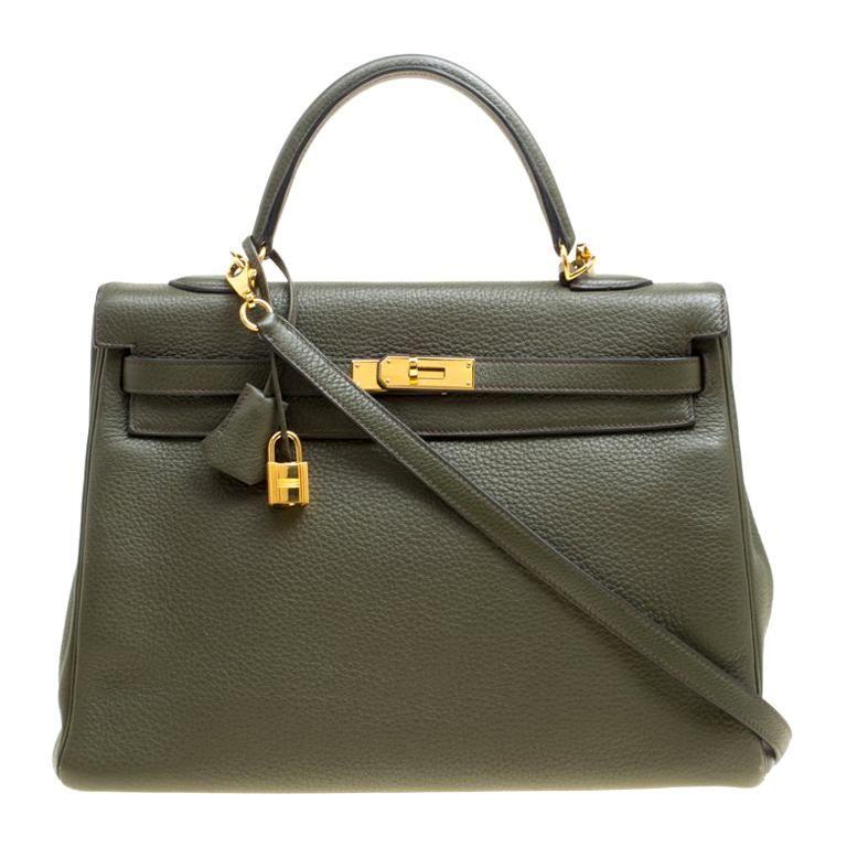 52c0cf90f58c Hermes Olive Green Togo Leather Gold Hardware Kelly Retourne 35 Bag ...