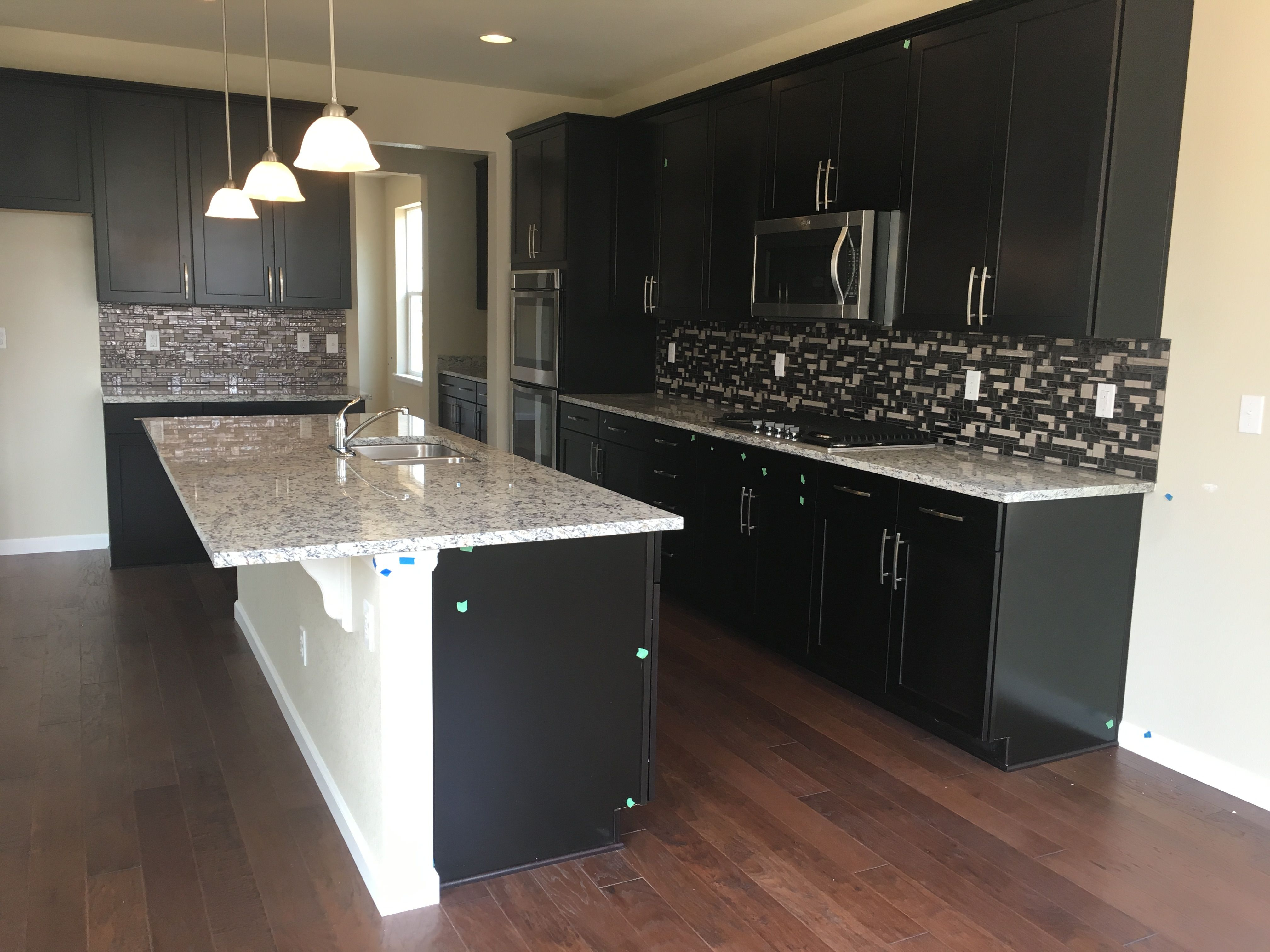 Timberlake Sonoma Espresso Cabinets, Ashen White Granite Countertops U0026  Emser Vista Reach Pattern Backsplash