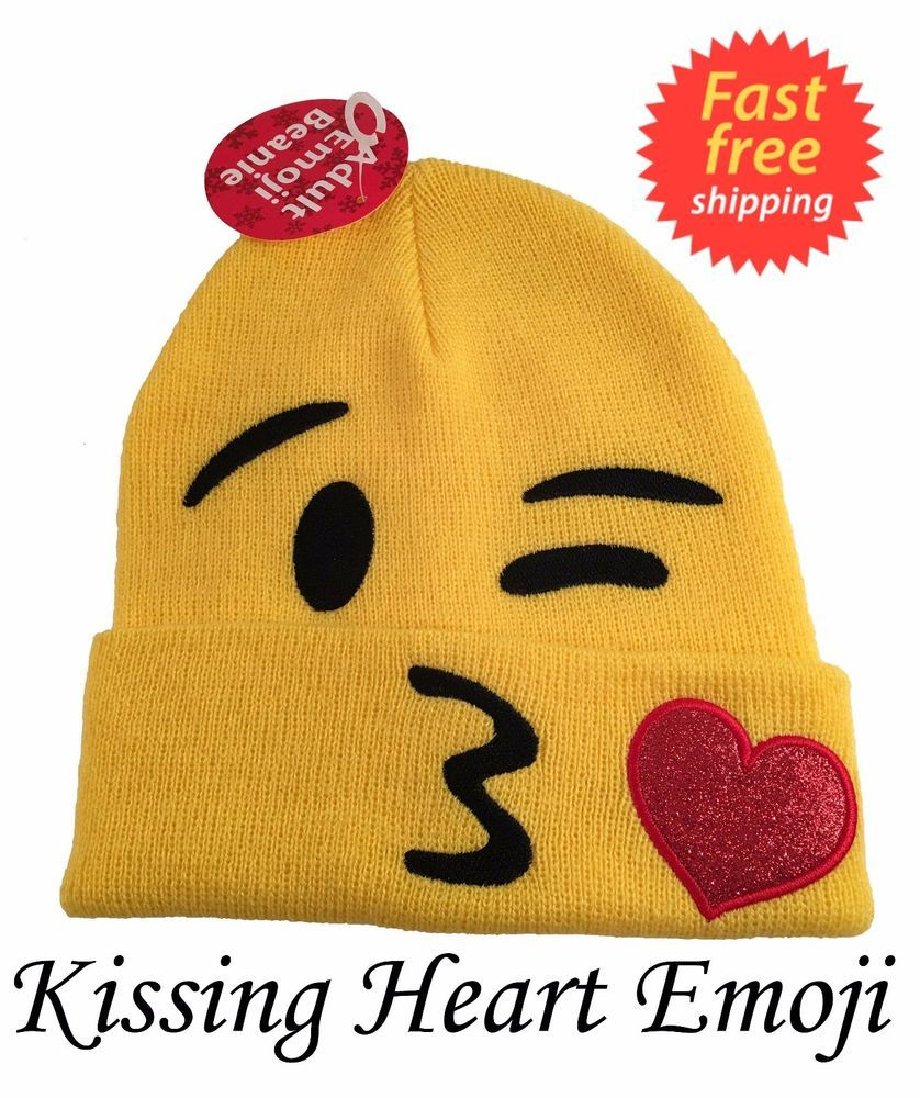 8ca8a9a11ce Adult Kissing Heart Emoji Beanie Hat New with tags FREE SHIPPING  Walmart   Beanie