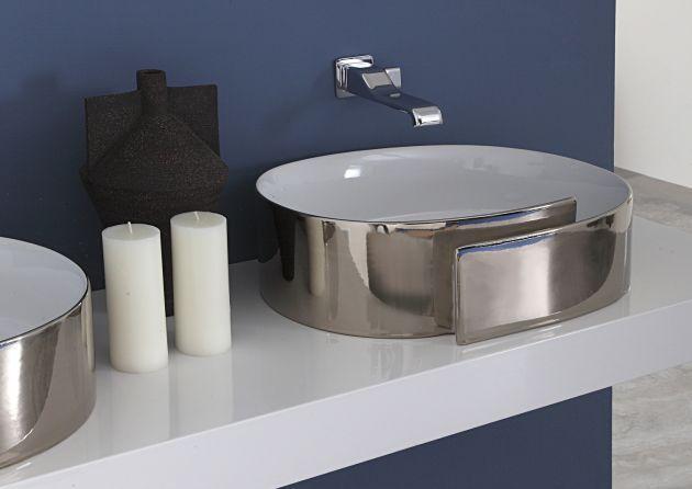Ceramica Flaminia Roll.Waschbecken In Silber Und Chrom Von Flaminia Roll Metal 44