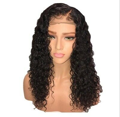 (Ad) Women Long Curly Lace Front Synthetic Realistic Hair Wigs Black Fashion