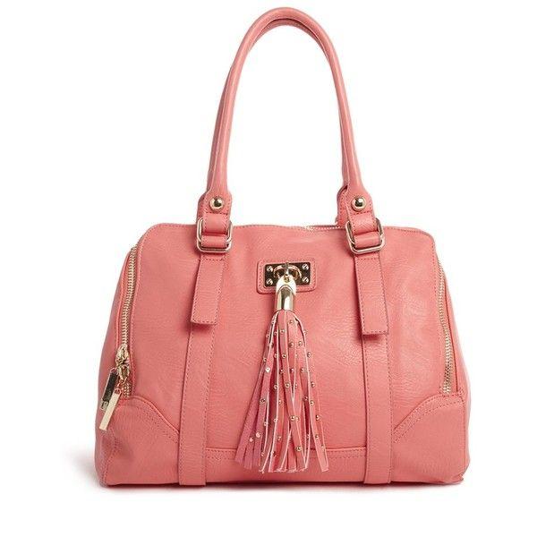 Faith Studded Tassel Kettle bag ($55) ❤ liked on Polyvore featuring bags, handbags, bolso, purses, studded handbags, vegan leather purse, faux leather purse, red purse and vegan handbags