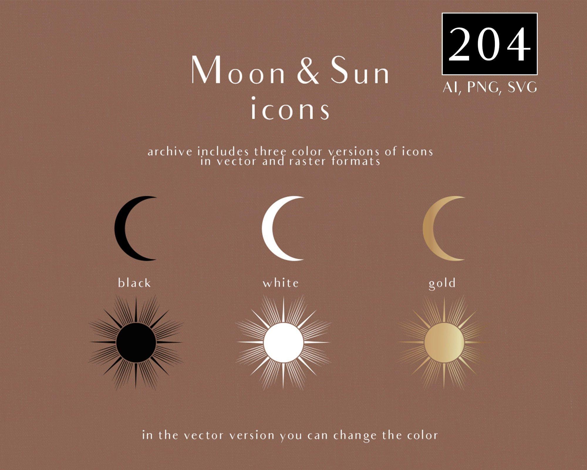 Moon And Sun Icons Moon And Sun Logos Png Svg Clipart In Etsy Disney Konsept Sanati Konsept Sanati Sanat
