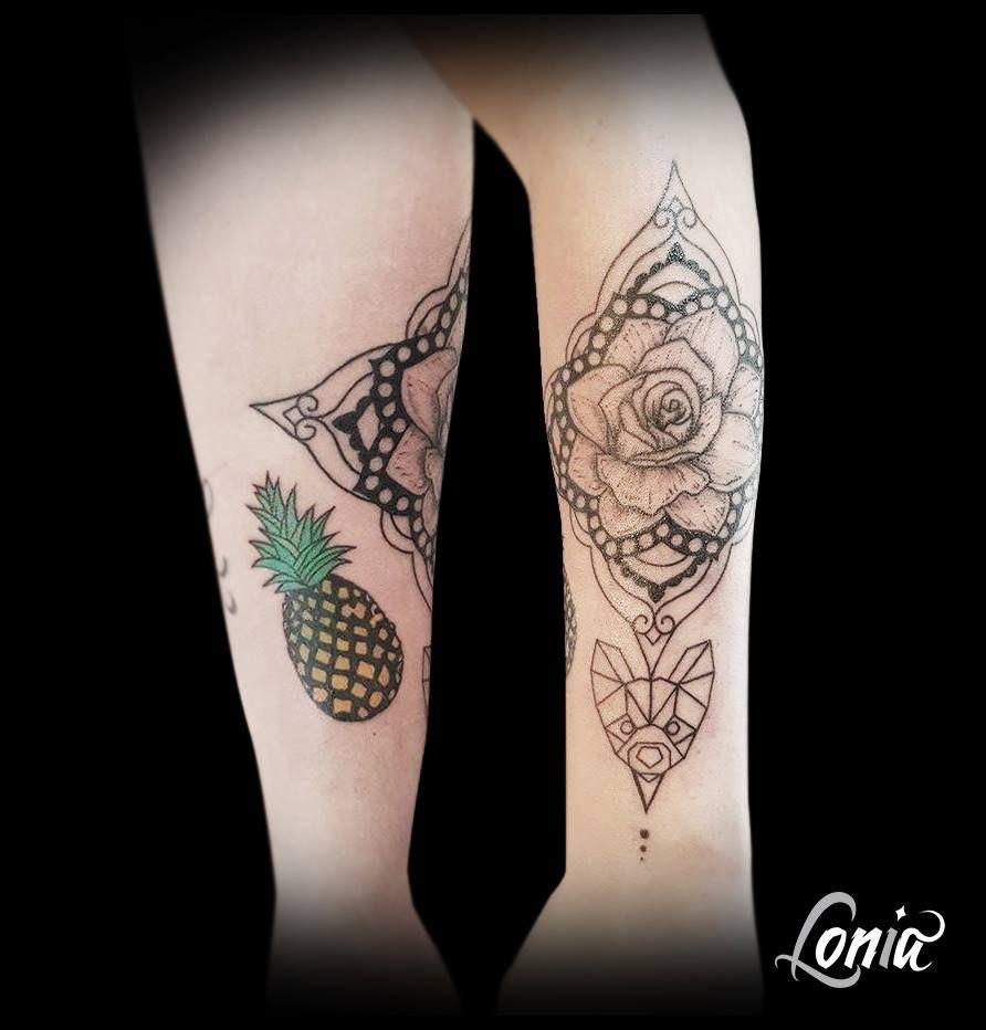tatouage lonia tattoo mandala origami chien ananas rose avant bras ornement tattoos. Black Bedroom Furniture Sets. Home Design Ideas
