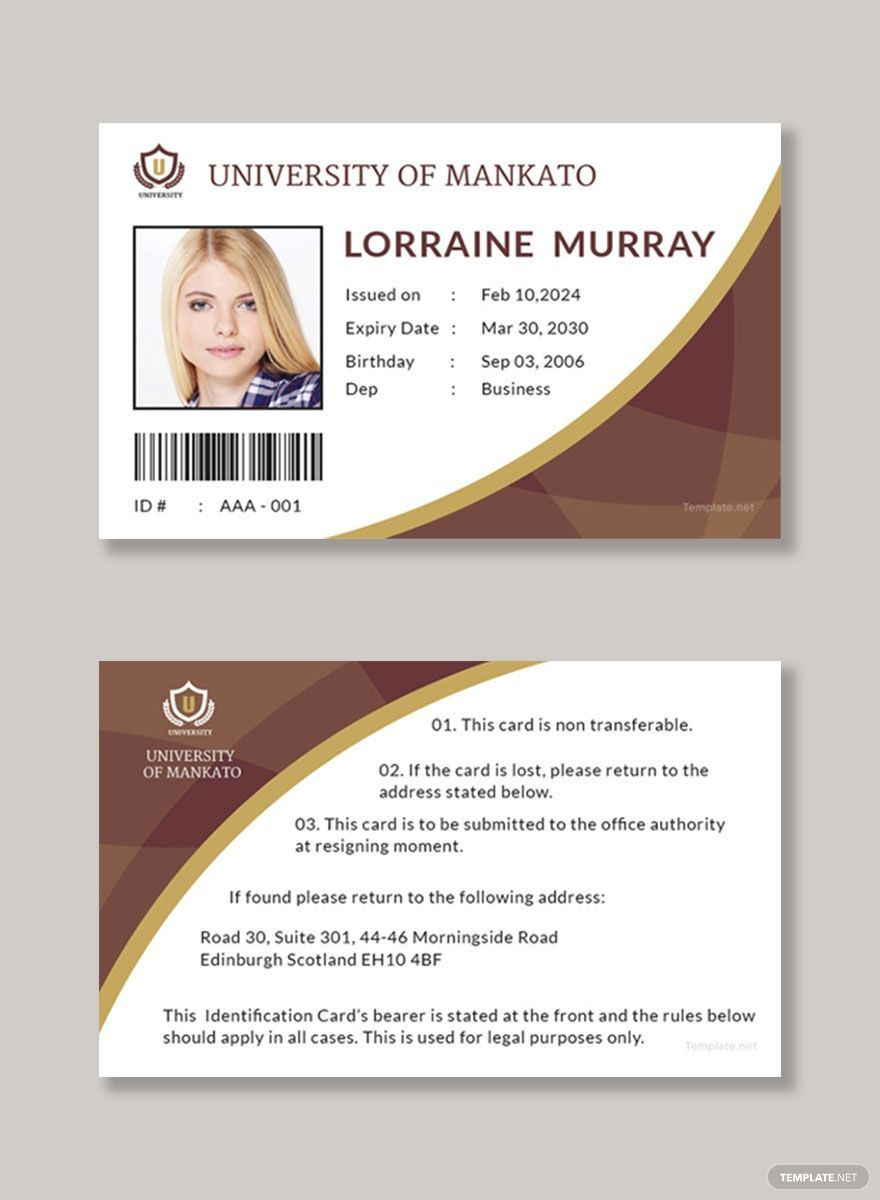 Student Id Card Template Id Card Template Create Business Cards Card Template