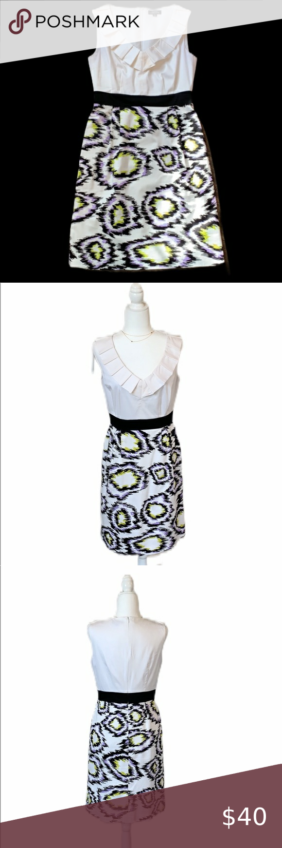 Tahari White Purple V Neck Sheath Dress Size 6 In 2020 Sheath Dress Sleeveless Sheath Dress Colorful Dresses [ 1740 x 580 Pixel ]