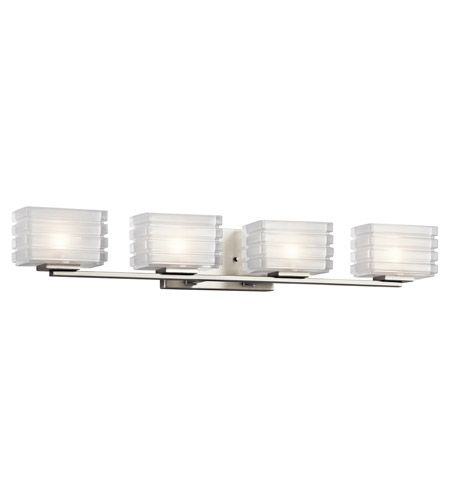 Bazely 4 Light 33 Inch Brushed Nickel Vanity Light Wall Light Contemporary Bathroom Lighting Vanity Lighting Bathroom Lighting