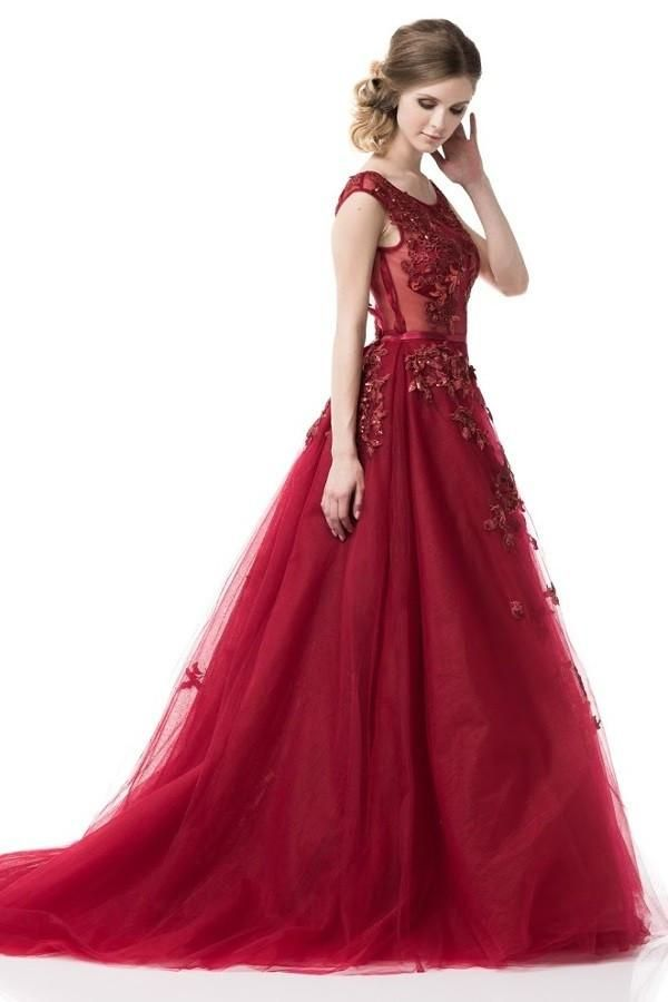 2018 Fairytale Prom Dress Long evening ball gown in Burgundy   Ball ...