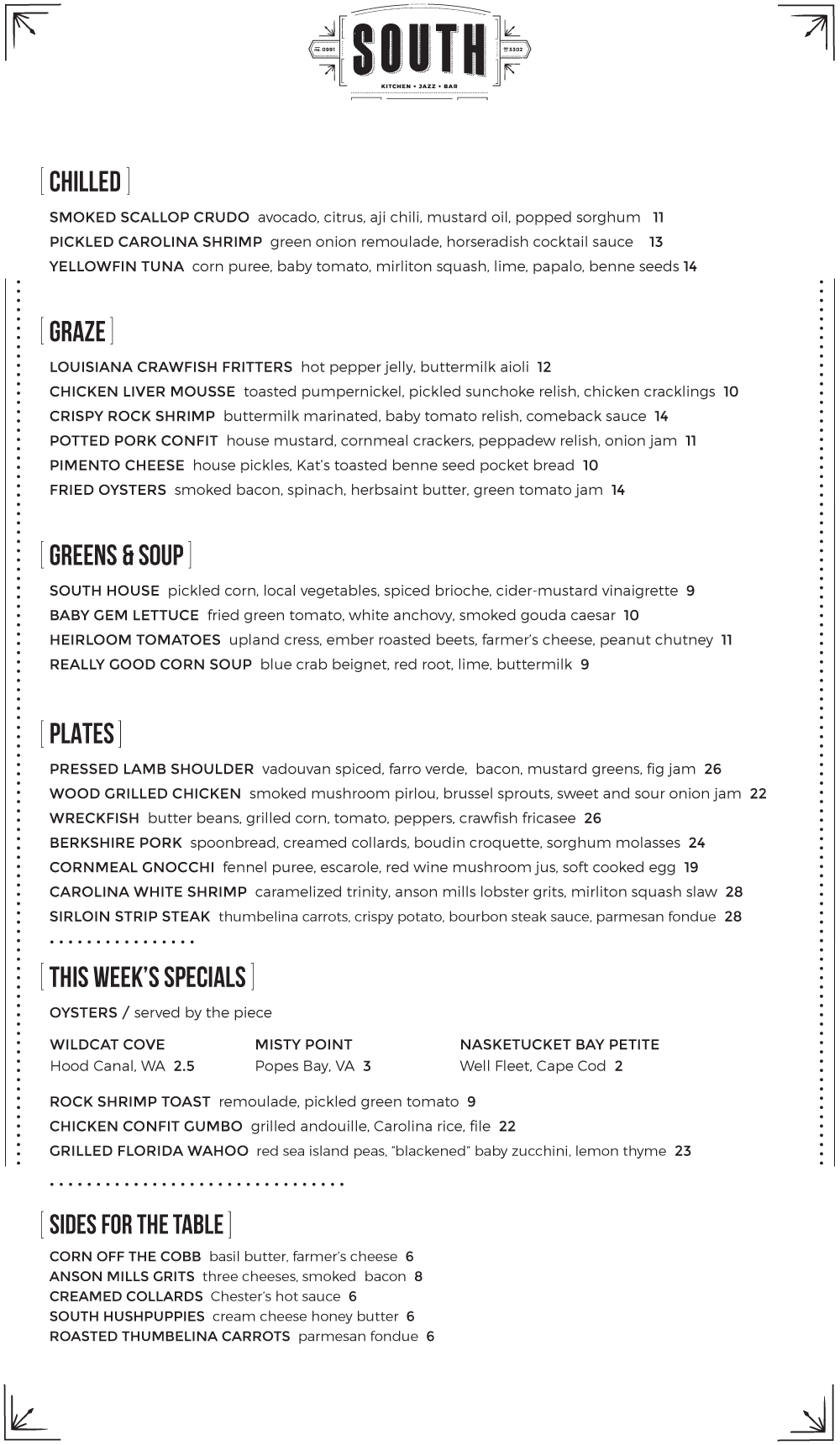Check Out The Opening Menu At South Foobooz Louisiana Crawfish Chicken Liver Mousse Seafood Appetizers