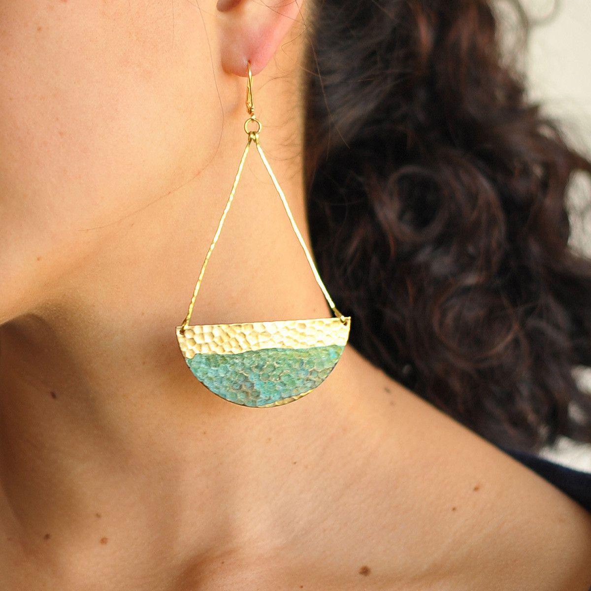 Rising Tide Patina Brass Earrings