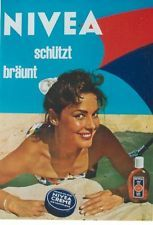 Original vintage poster NIVEA SUNTAN CREAM LADY BEACH