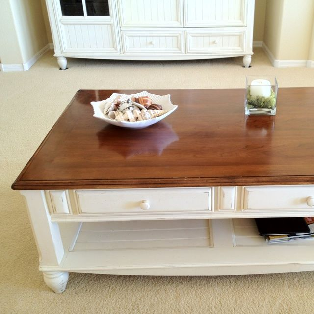 Coffee Table With Brown Wooden Top And White Wood Bottom Except