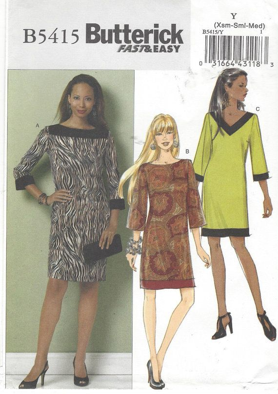 Shift Dress with Neckline & Sleeve Variations by CloesCloset