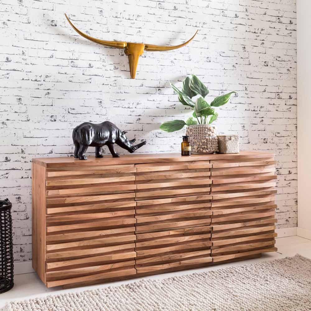 Holen Sie Sich Mit Diesem Design Sideboard Aus Akazie Massivholz Einen Echten Blickfang In Ihr Zuhause 160 Cm Breit Mit Einzelne Sideboard Holz Jugendzimmer
