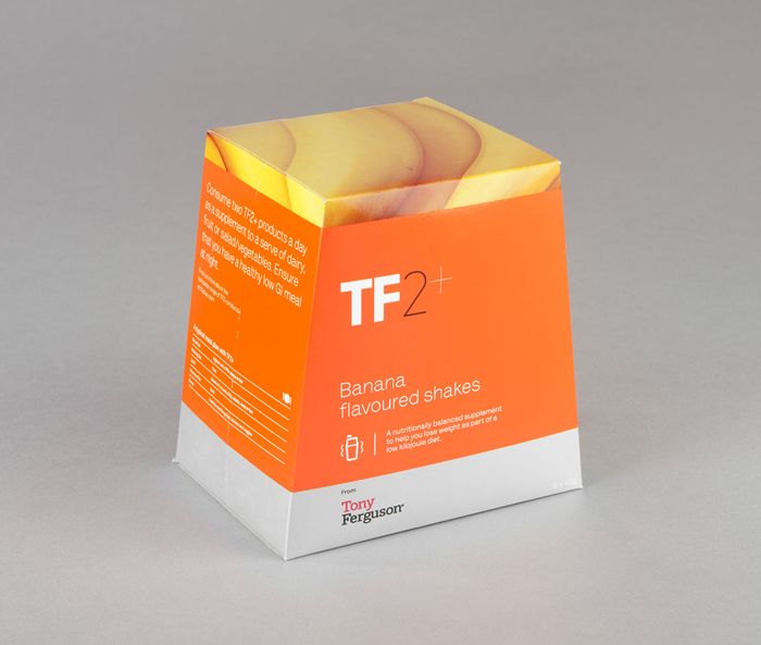 Packaging design for 'TF2+' weight control alternative meals by Maud