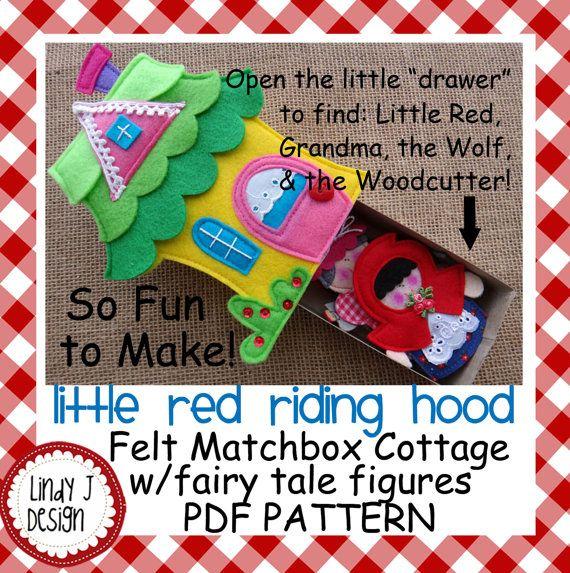 Fairy Tale Matchbox Cottage 1 Little Red Riding Hood Felt Playset