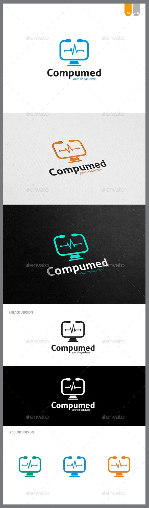 Compumed Logo Objects Logo Templates Modern Logo Geometric