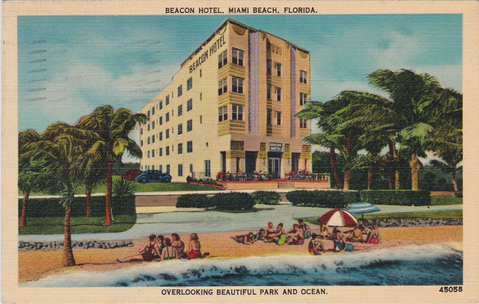 """Beacon Hotel, 720 Ocean Drive, 1940.  """"Make the Beacon Hotel your home and frolic in its play-yard, the Atlantic Ocean."""""""