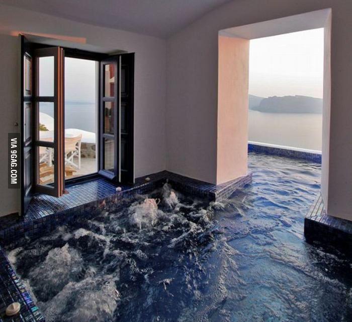 Amazing Greek Pool Dream House Hot Tub Room Indoor Outdoor Pool