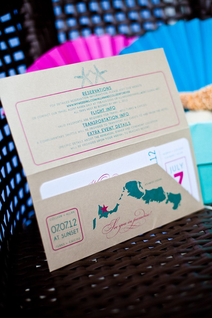 Turks and caicos wedding from shannon gail weddings just love me colourful blue and fuschia invites photography by just love me photography design stopboris Choice Image