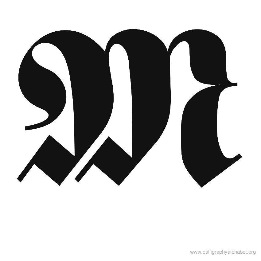 Calligraphy Alphabet Medievil M Typo Pinterest