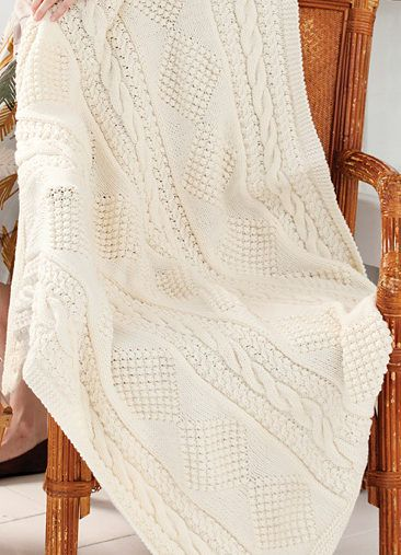 01487d358 Free Knitting Pattern for Treasure Chest Throw - Aran afghan knit in strips  of cables and diamond motifs and seamed. Size 47″ x 54″. Designed by Red  Heart.