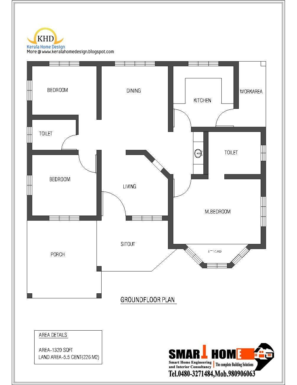 Kerala Modern House Single Floor Single Floor House Plan And Elevation 1320 Sq Ft In 2020 Home Design Floor Plans Indian House Plans Kerala House Design