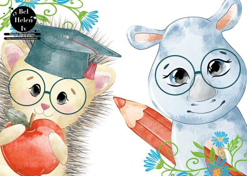 Animals And School School Clipart Teachers Commercial Use Etsy School Clipart Clip Art Children Illustration