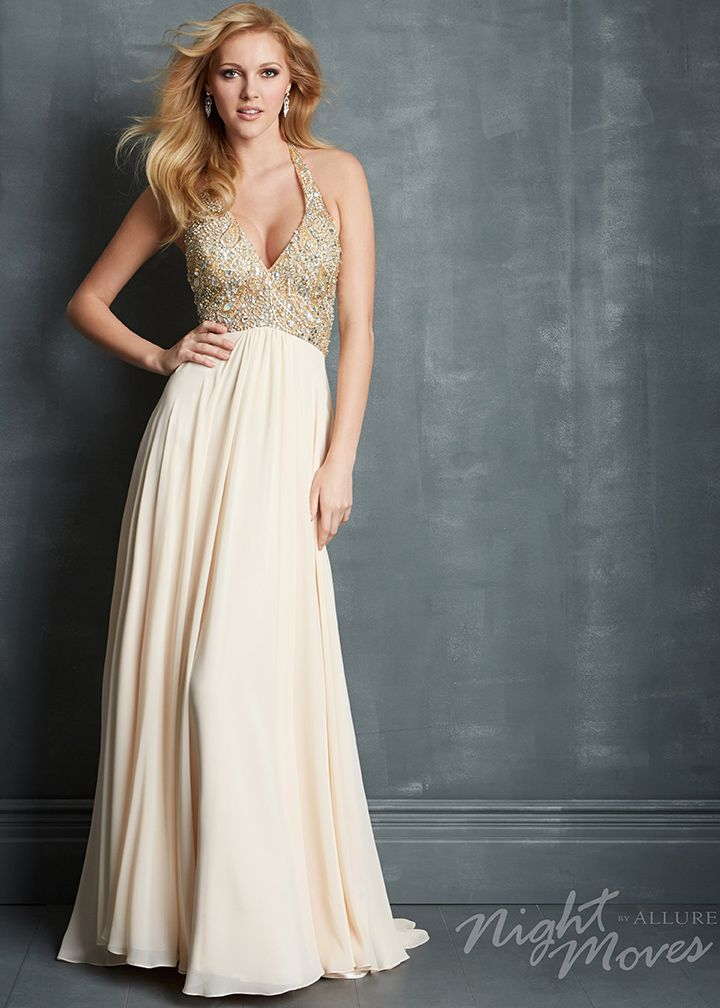 9c694a93092 Night Moves 7082 - Champagne Beaded Chiffon Halter Prom Dresses Online   thepromdresses