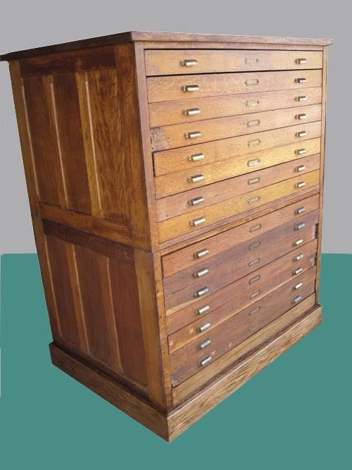 Flat File Cabinet Antique Wood 15 Drawers Art Plan Map Blueprint Files Filing Cabinet How To Antique Wood Flat File Cabinet