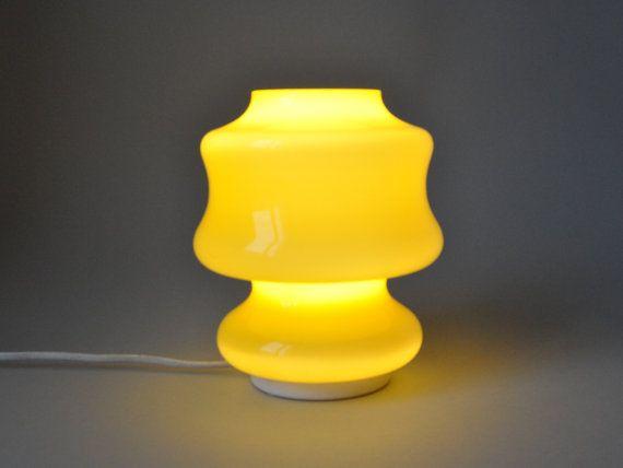 Nice Vintage Yellow Glass Desk Lamp Hooped Cased Glass Swedish Scandinavian 50s  60s Decoration Madmen Light Mid