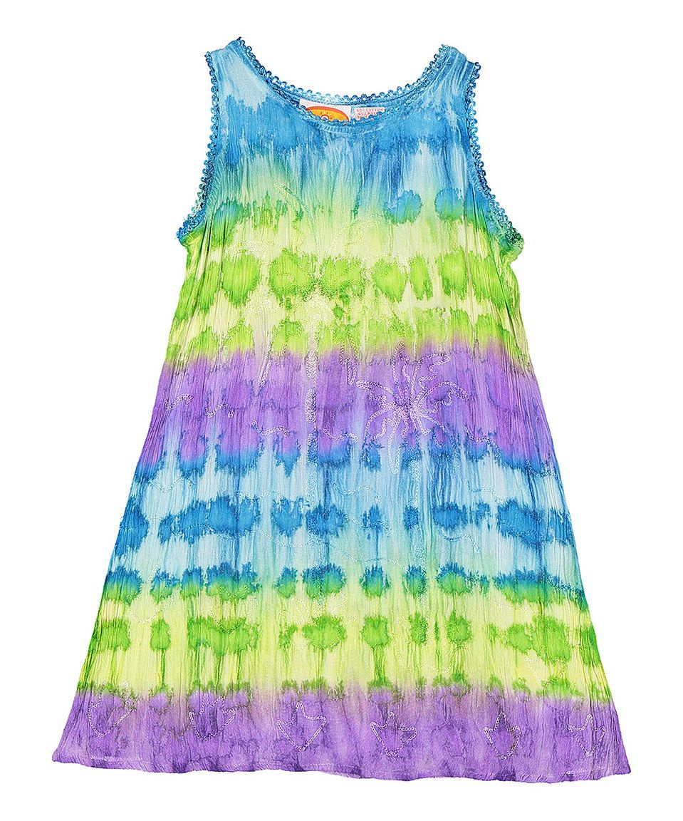 Loving this Turquoise & Lime Banded Tie-Dye Swing Dress - Kids & Tween on #zulily! #zulilyfinds