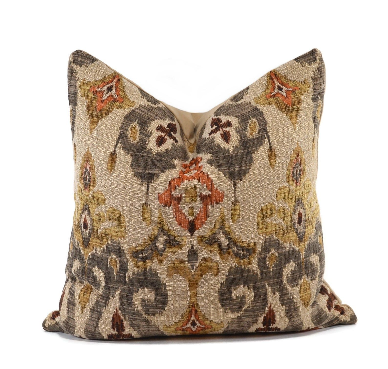 Boho Throw Pillows, Turkish Chenille Throw Pillow Cover, Gray, Gold and Orange Ikat Throw Pillow Cover, Moroccan Pillow Cover, 20x20