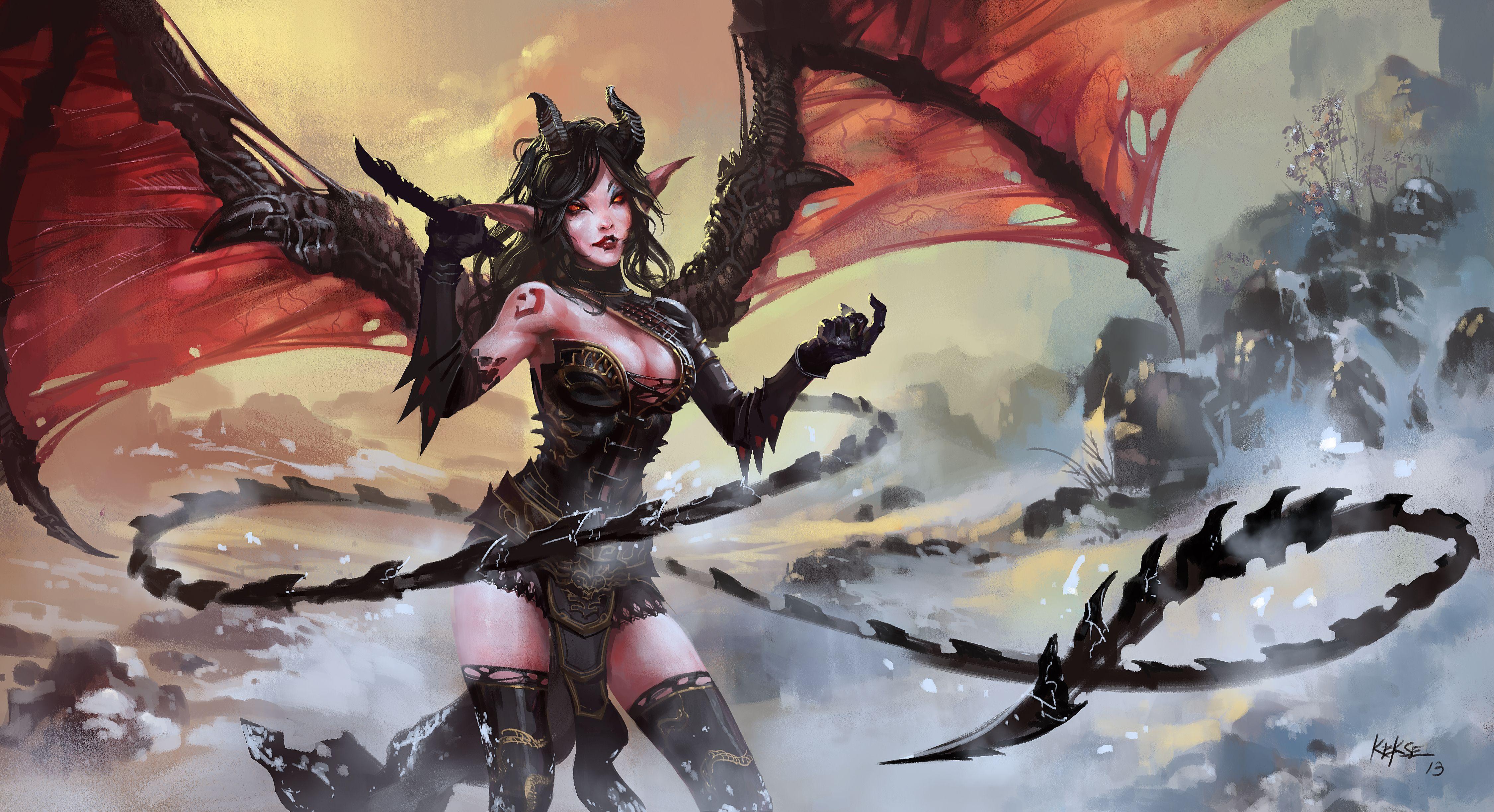 Fantasy Demon Girl Wings Horns Tail Wallpaper