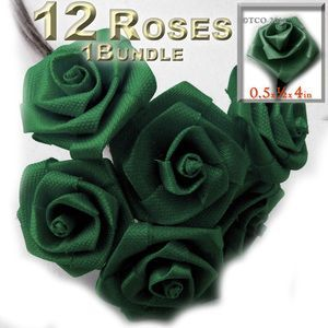 1-Bundle 12 Handmade Folded ribbon Roses, 0.50-inch wide rose 4-inch long wire stem, Emerald Green