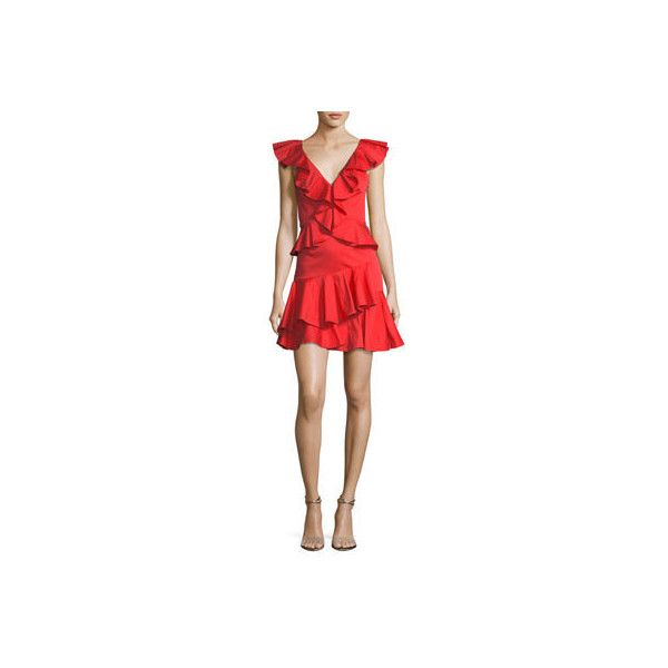 Rebecca Taylor Deep-V Cotton Ruffle Mini Cocktail Dress ($450) ❤ liked on Polyvore featuring dresses, red, sleeveless dress, cotton dress, red a line dress, mini cocktail dress and a-line cocktail dresses