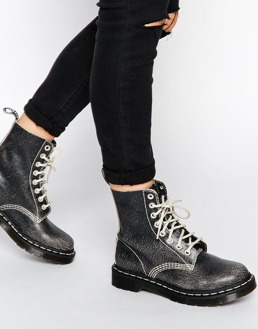 dr martens core pascal bottines 8 oeillets blanc noir shoes martens bottines et. Black Bedroom Furniture Sets. Home Design Ideas