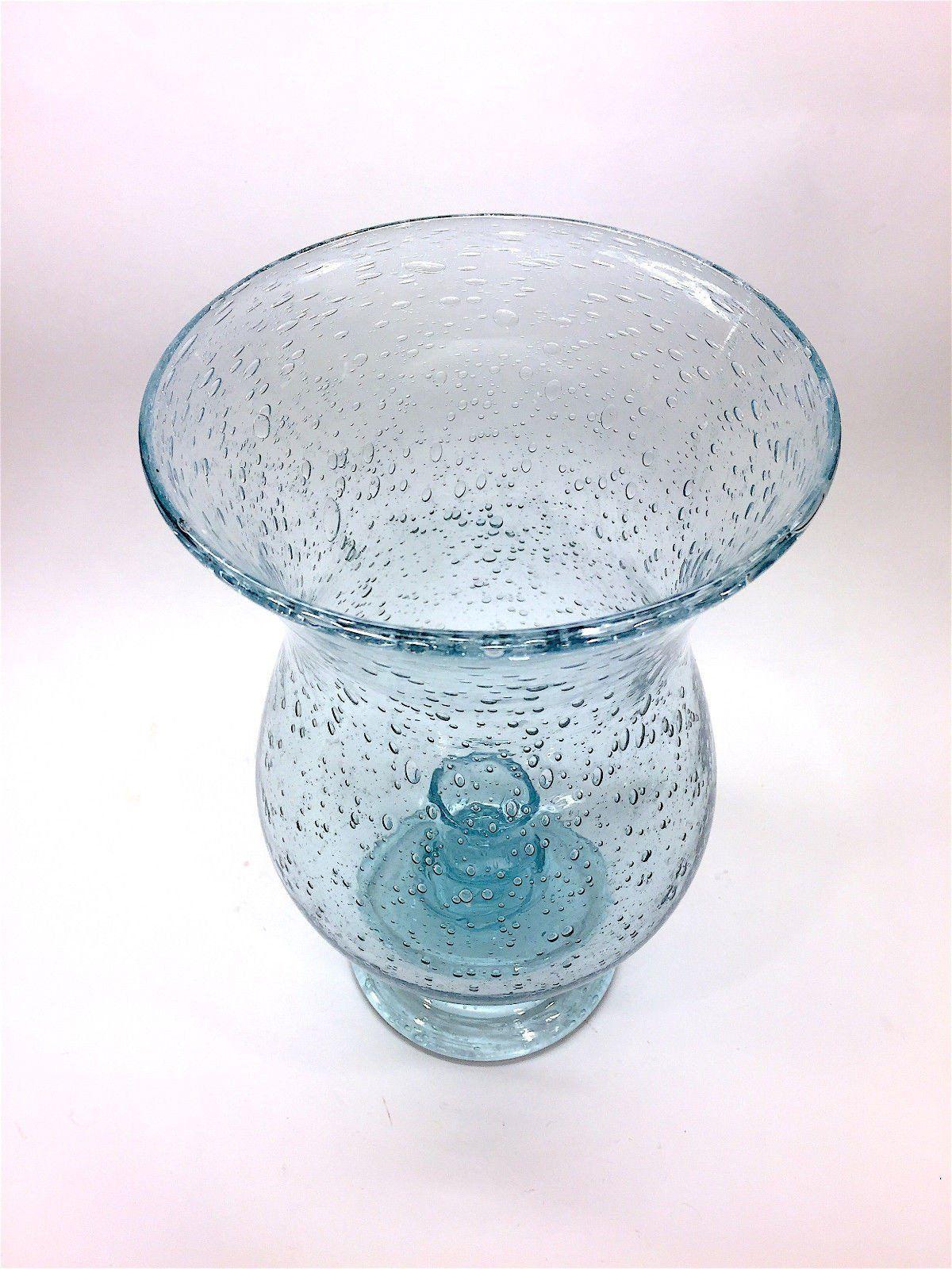 Verrerie De Biot France Aqua Blue Bubble Glass Hurricane Lamp