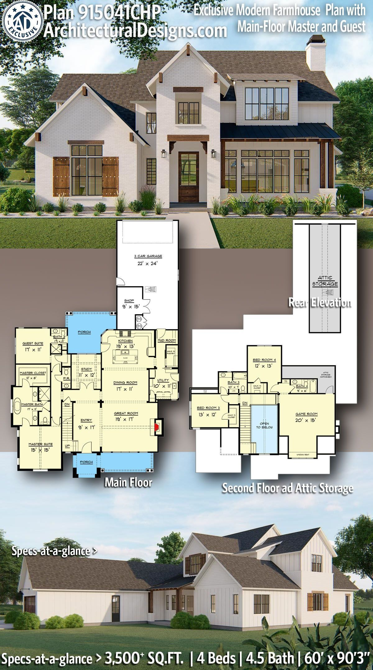 4 Bed Farmhouse House Plan CHP