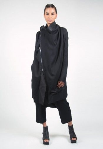 Rick Owens Lambs Wool Zipped Coat in Black
