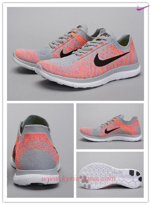 sports shoes dc8fb b9252 717076-002 Wolf Grey Pink Pow Total Orange Black Nike Free 4.0 Flyknit  Outlet Sale BJXB7K