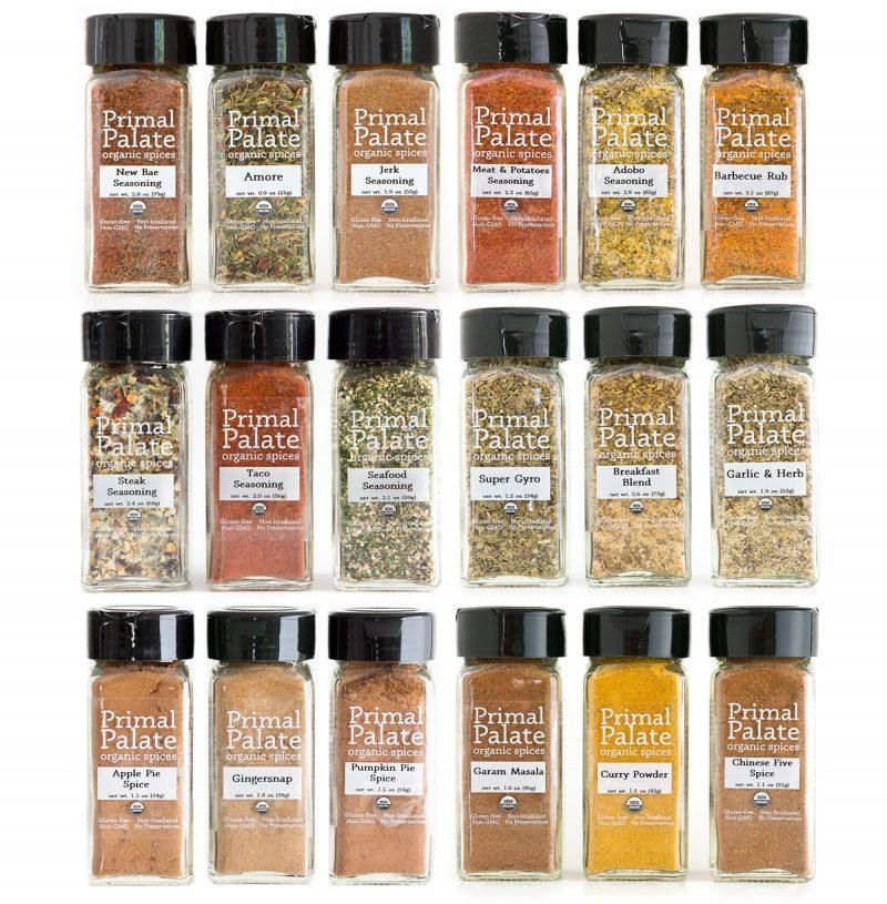 This is a 20-flavor combo pack containing all of our 4oz bottle spice blends. New Bae Seasoning: This blend is a fiery new flavor in your life, giving quite the kick to anything from seafood to roast vegetables to epic potatoes. Reach for it Before Anything Else. Ingredients: Himalayan Pink Salt, Paprika, Celery Seed, Black Pepper, Ancho Chili Powder, Cayenne, Cardamom, Allspice, Mace, Bay Leaves. Amore: Our take on Italian seasoning, this blend delivers bold and savory flavors to your favorite