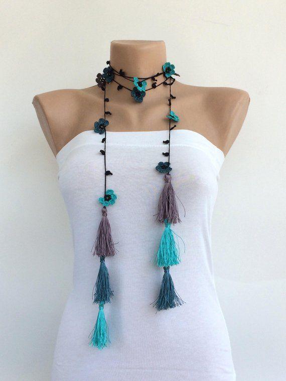Photo of Tassel Boho Necklace, Hippy Wrap Necklace, Long Fringed Lariat, Turquoise Crochet  Jewelry, Crochet Necklace, Oya Beaded Wrap, Women Gift