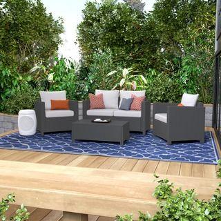 Christopher Knight Home Puerta Grey Outdoor Wicker Sofa Set