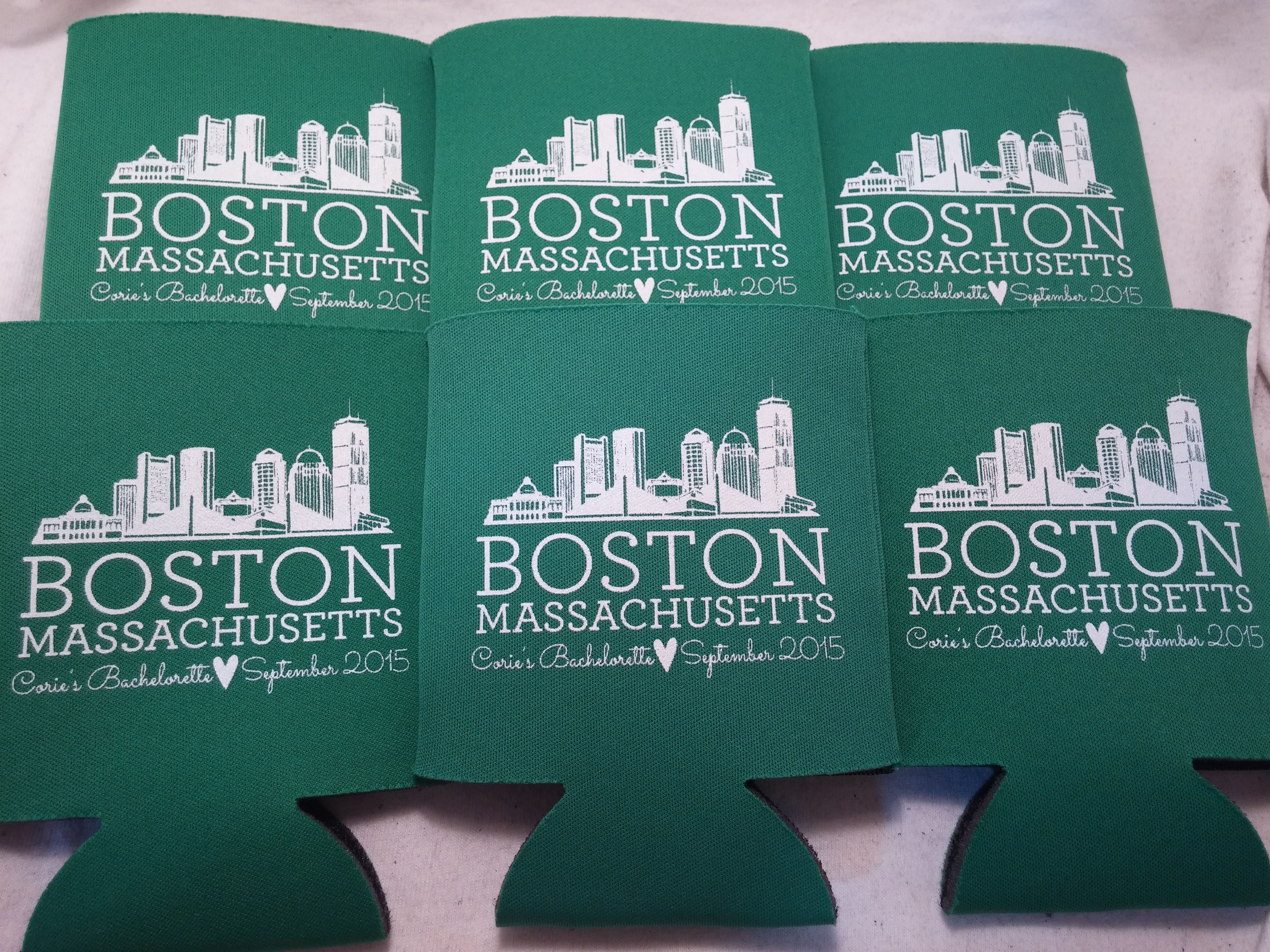 boston bachelorette party! custom can coolers / koozies by odyssey