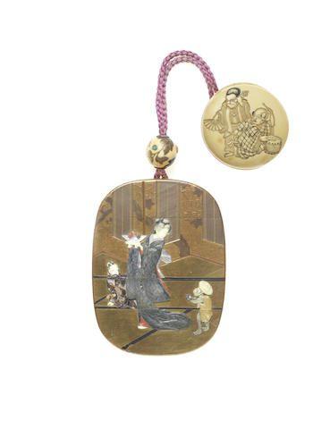 A gold-lacquer Shibayama-inlaid four-case inro Probably by Nakayama (Gosokusai) Teimin, born 1848, Meiji era (1868-1912) (2)